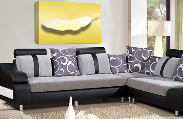 Abstract Dream Wall Art  Yellow Grey White Feather Love Canvas Picture